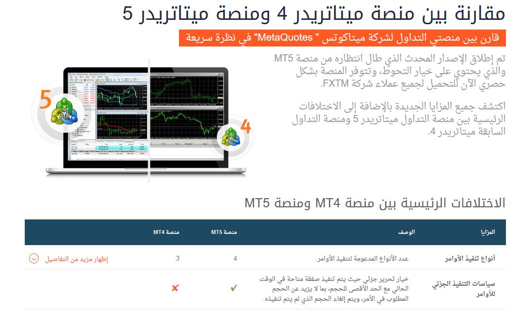 ما الفرق بين منصة ميتاتريد4 وميتاتريد5